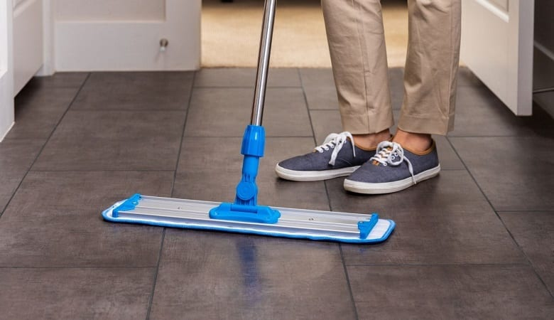 cleaning with a wet mop